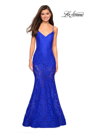 La Femme 27584 prom dress images.  La Femme 27584 is available in these colors: Black, Electric Blue, Hot Pink, Ivory, Wine.