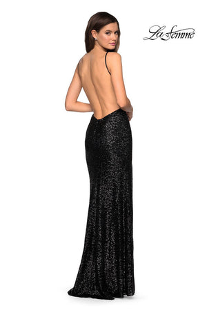 La Femme 27585 prom dress images.  La Femme 27585 is available in these colors: Black, Gunmetal, Navy, Red.