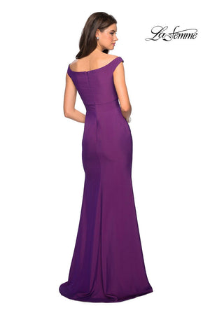 La Femme 27587 prom dress images.  La Femme 27587 is available in these colors: Burgundy, Gunmetal, Navy, Violet.