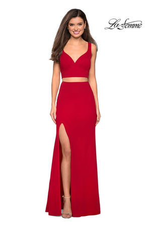 La Femme 27588 prom dress images.  La Femme 27588 is available in these colors: Navy, Red.