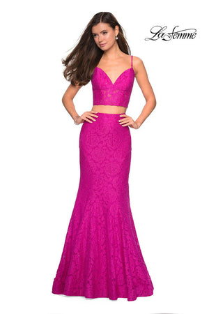 La Femme 27589 prom dress images.  La Femme 27589 is available in these colors: Black, Electric Blue, Hot Pink, White.