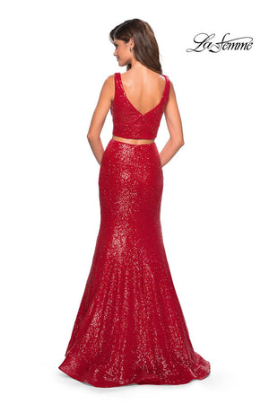 La Femme 27590 prom dress images.  La Femme 27590 is available in these colors: Navy, Red.