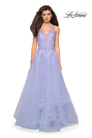 La Femme 27603 prom dress images.  La Femme 27603 is available in these colors: Cloud Blue, Lilac Mist, White.