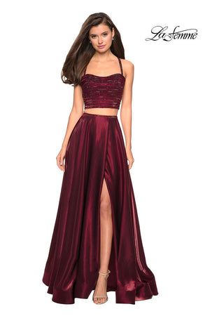 La Femme 27607 prom dress images.  La Femme 27607 is available in these colors: Navy, Wine.