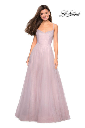 La Femme 27608 prom dress images.  La Femme 27608 is available in these colors: Dusty Mauve, Nude, Pale Blue.
