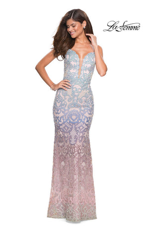 La Femme 27609 prom dress images.  La Femme 27609 is available in these colors: Mulighti.
