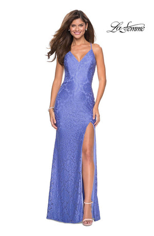 La Femme 27614 prom dress images.  La Femme 27614 is available in these colors: Dark Turquoise, Periwinkle, Red.