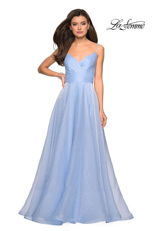 La Femme 27616 prom dress images.  La Femme 27616 is available in these colors: Lavender, Light Blue, Mauve, Silver.