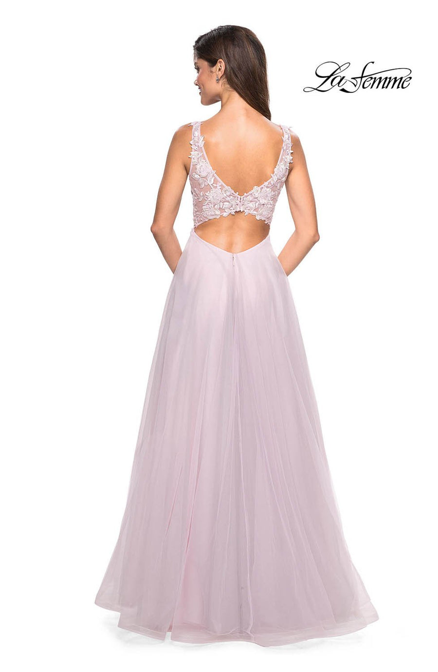 La Femme 27621 prom dress images.  La Femme 27621 is available in these colors: Cloud Blue, Light Pink.