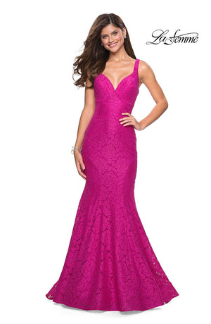 La Femme 27623 prom dress images.  La Femme 27623 is available in these colors: Cloud Blue, Hot Pink, White, Yellow.