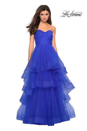 La Femme 27624 prom dress images.  La Femme 27624 is available in these colors: Mauve, Red, Royal Blue, White.