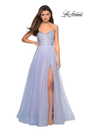 La Femme 27636 prom dress images.  La Femme 27636 is available in these colors: Blue Pink, Mauve.