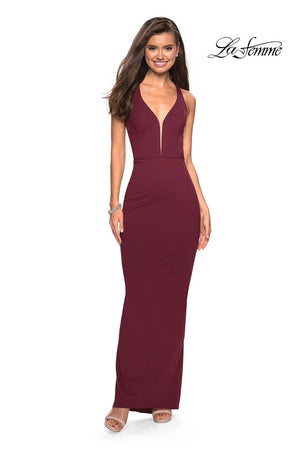 La Femme 27637 prom dress images.  La Femme 27637 is available in these colors: Black, Ivory, Wine.