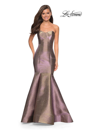 La Femme 27638 prom dress images.  La Femme 27638 is available in these colors: Purple Gold.