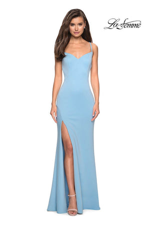 La Femme 27657 prom dress images.  La Femme 27657 is available in these colors: Black, Cloud Blue, White, Yellow.