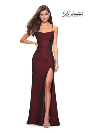 La Femme 27660 prom dress images.  La Femme 27660 is available in these colors: Black, Burgundy, Navy, Violet.