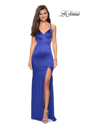 La Femme 27682 prom dress images.  La Femme 27682 is available in these colors: Hot Fuchsia, Royal Blue.