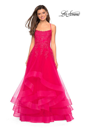 La Femme 27694 prom dress images.  La Femme 27694 is available in these colors: Hot Fuchsia, Lilac Mist, Marine Blue.