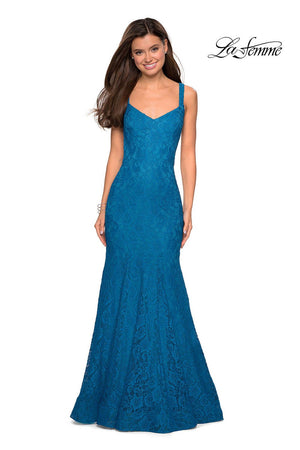 La Femme 27709 prom dress images.  La Femme 27709 is available in these colors: Boysenberry, Gunmetal, Teal.