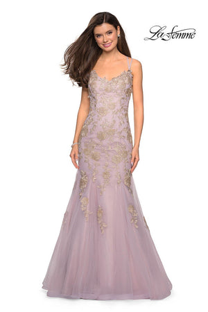 La Femme 27710 prom dress images.  La Femme 27710 is available in these colors: Gold Mauve.