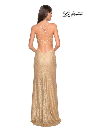 La Femme 27725 prom dress images.  La Femme 27725 is available in these colors: Gold.