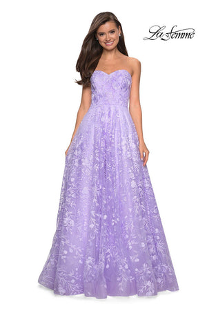 La Femme 27746 prom dress images.  La Femme 27746 is available in these colors: Burgundy, Cloud Blue, Lavender, Navy, Yellow.