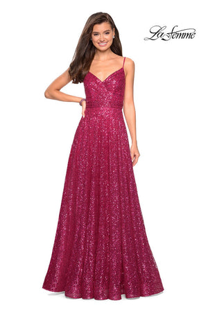La Femme 27747 prom dress images.  La Femme 27747 is available in these colors: Fuchsia, Gold, Gunmetal, Navy.