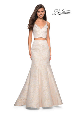 La Femme 27749 prom dress images.  La Femme 27749 is available in these colors: Ivory Gold.