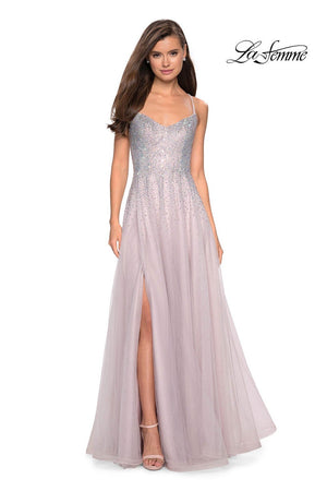 La Femme 27750 prom dress images.  La Femme 27750 is available in these colors: Cloud Blue, Mauve.