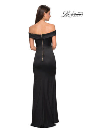 La Femme 27752 prom dress images.  La Femme 27752 is available in these colors: Black, Emerald, Navy, Nude, Red, Teal.