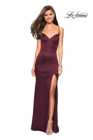 La Femme 27758 prom dress images.  La Femme 27758 is available in these colors: Burgundy.