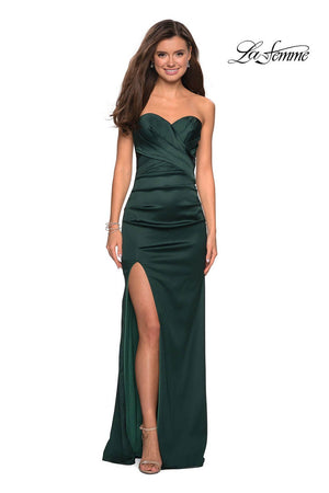 La Femme 27780 prom dress images.  La Femme 27780 is available in these colors: Forest Green, Fuchsia, Gold.