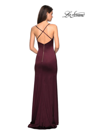 La Femme 27782 prom dress images.  La Femme 27782 is available in these colors: Burgundy, Navy.