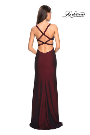 La Femme 27785 prom dress images.  La Femme 27785 is available in these colors: Burgundy, Navy.
