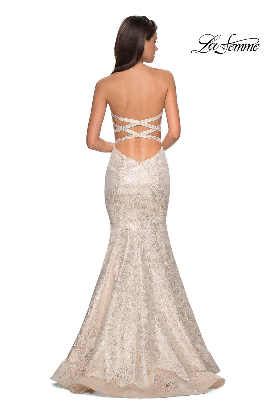 La Femme 27789 prom dress images.  La Femme 27789 is available in these colors: Ivory Gold.