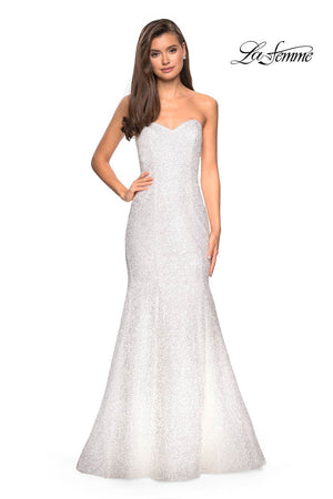La Femme 27791 prom dress images.  La Femme 27791 is available in these colors: White.