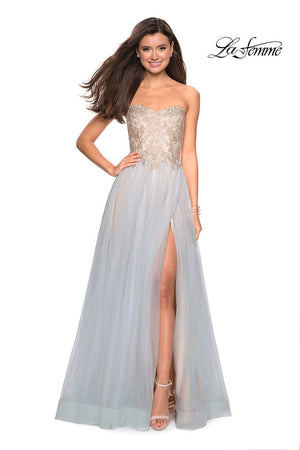 La Femme 27795 prom dress images.  La Femme 27795 is available in these colors: Cloud Blue Gold.