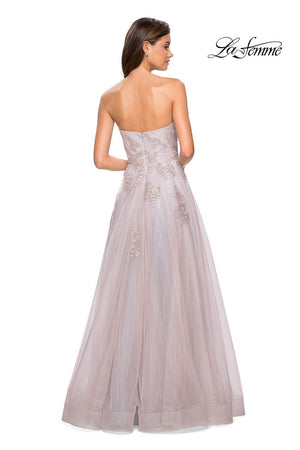 La Femme 27803 prom dress images.  La Femme 27803 is available in these colors: Mauve Silver.