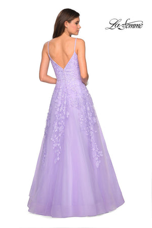 La Femme 27819 prom dress images.  La Femme 27819 is available in these colors: Dusty Blue, Lavender, Light Pink.