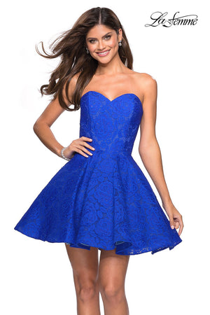 La Femme 27334 prom dress images.  La Femme 27334 is available in these colors: Electric Blue, Hot Fuchsia, White, Yellow.