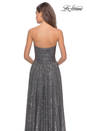 La Femme 27879 prom dress images.  La Femme 27879 is available in these colors: Black, Gunmetal.