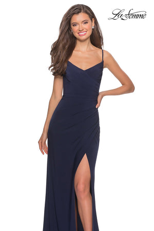 La Femme 28079 prom dress images.  La Femme 28079 is available in these colors: Black, Deep Red, Navy.