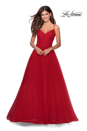 La Femme 28123 prom dress images.  La Femme 28123 is available in these colors: Black, Electric Blue, Lilac Mist, Neon Pink, Red.