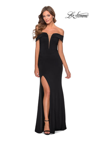 La Femme 28132 prom dress images.  La Femme 28132 is available in these colors: Black, Deep Red, White.