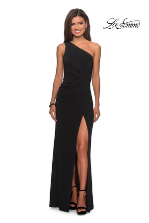 La Femme 28135 prom dress images.  La Femme 28135 is available in these colors: Black.