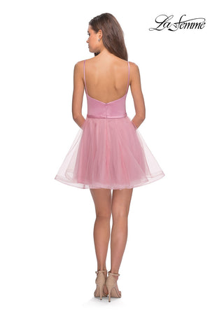 La Femme 28156 prom dress images.  La Femme 28156 is available in these colors: Black, Blush.