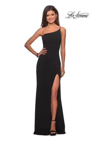 La Femme 28176 prom dress images.  La Femme 28176 is available in these colors: Black, Burgundy, White, Yellow.