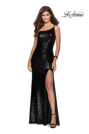 La Femme 28177 prom dress images.  La Femme 28177 is available in these colors: Black, Lavender Gray, Mint, Red, Royal Blue.