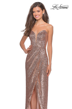 La Femme 28180 prom dress images.  La Femme 28180 is available in these colors: Black, Rose Gold.