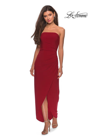 La Femme 28204 prom dress images.  La Femme 28204 is available in these colors: Black, Dark Purple, Red.